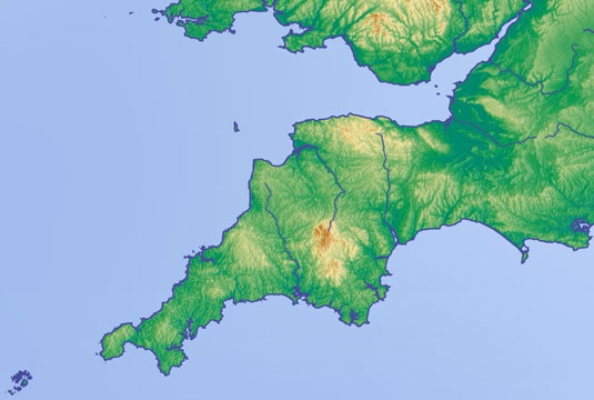 Map of Devon. Cornwall, Somerset